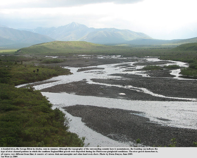 A braided river in Alaska in summer, the Savage River