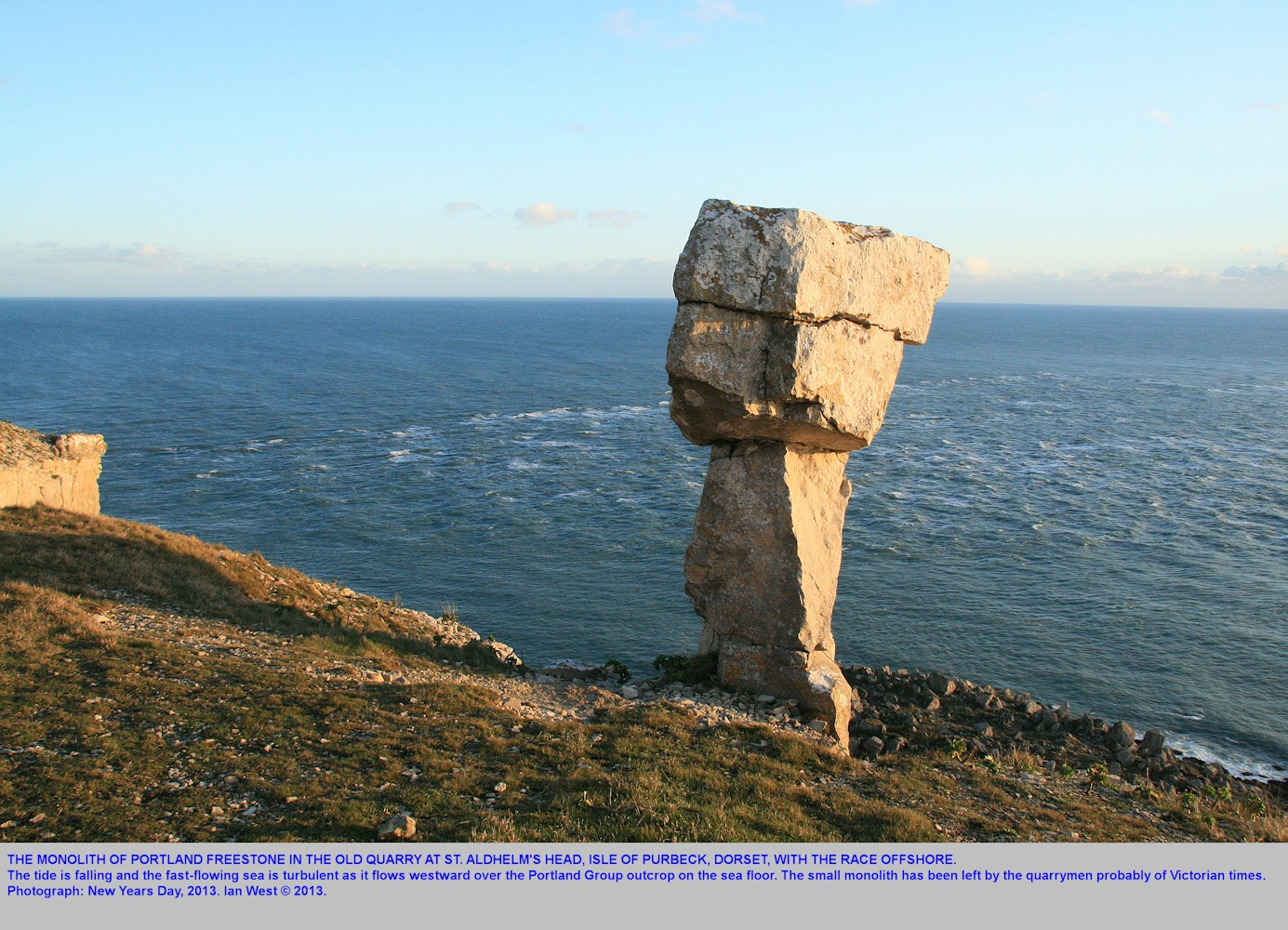 The monolith in the old quarry at St. Aldhelm's Head, Isle of Purbeck, Dorset, Jurassic Coast with the race also in view, 1st January 2013