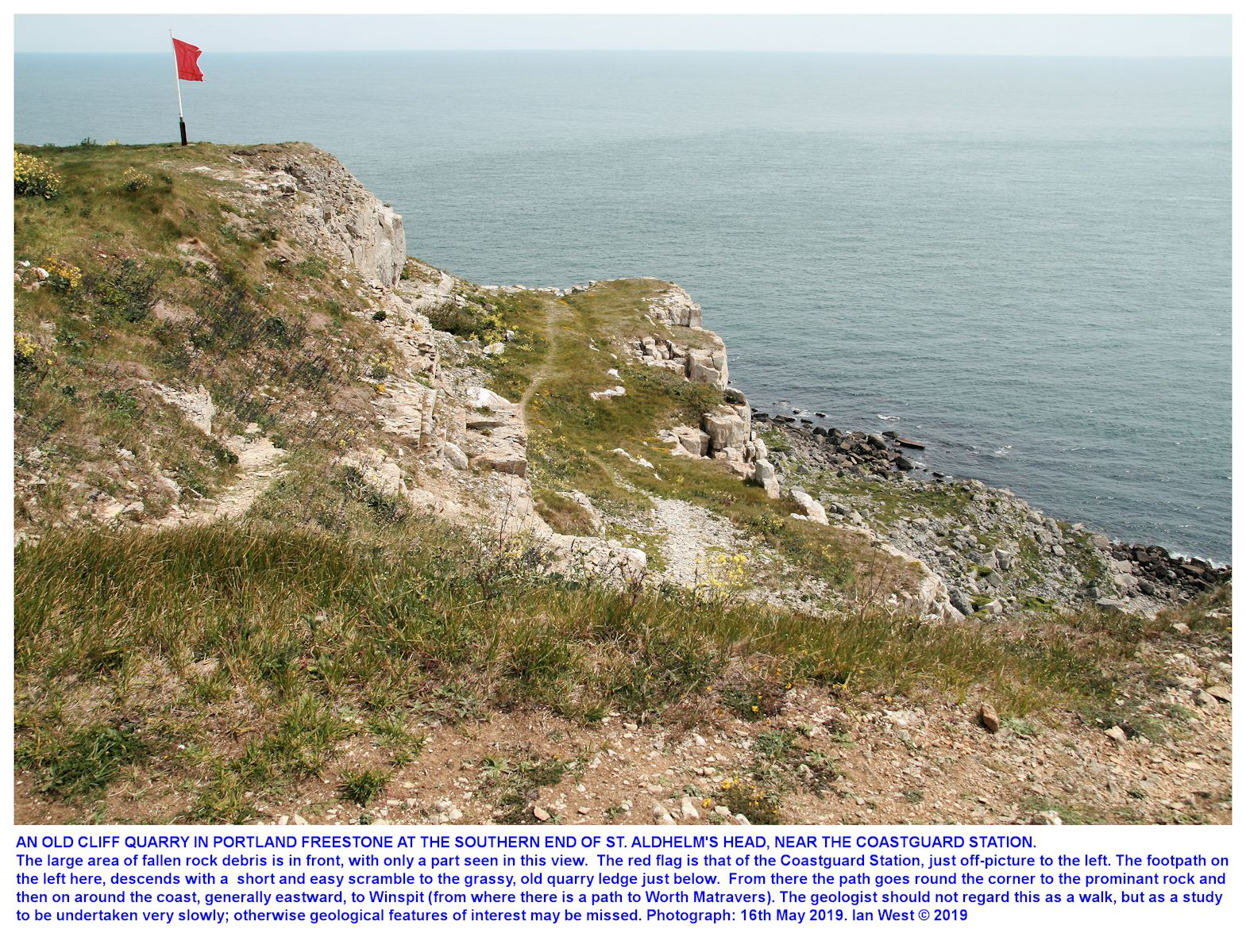Going down to the old cliff quarry near the Coastguard Station at the southern end of St. Aldhelm's Head, Dorset, 16th May 2019