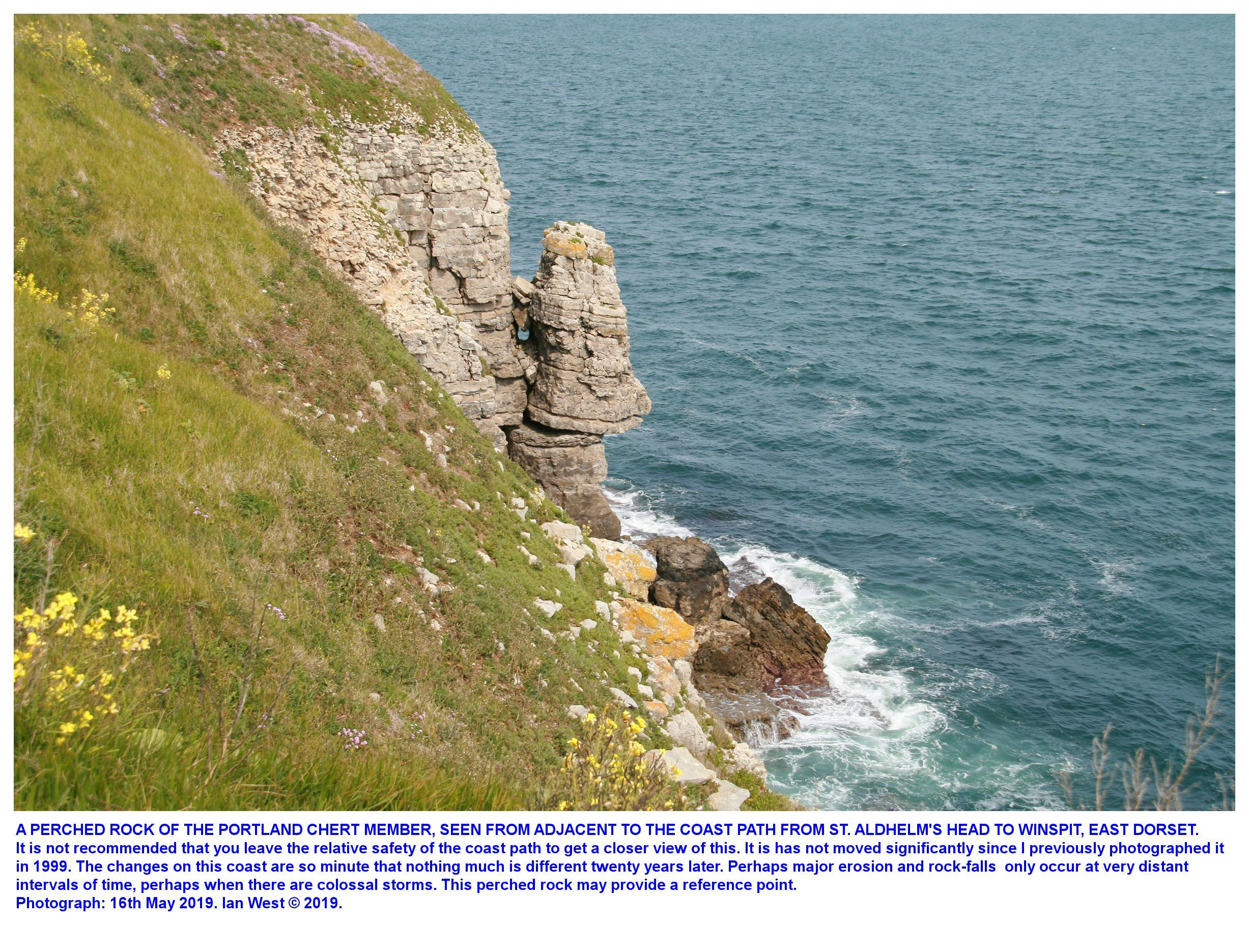 An incipient topple of Portland Stone, east of St. Aldhelm's Head, as seen in May 2019, closer view