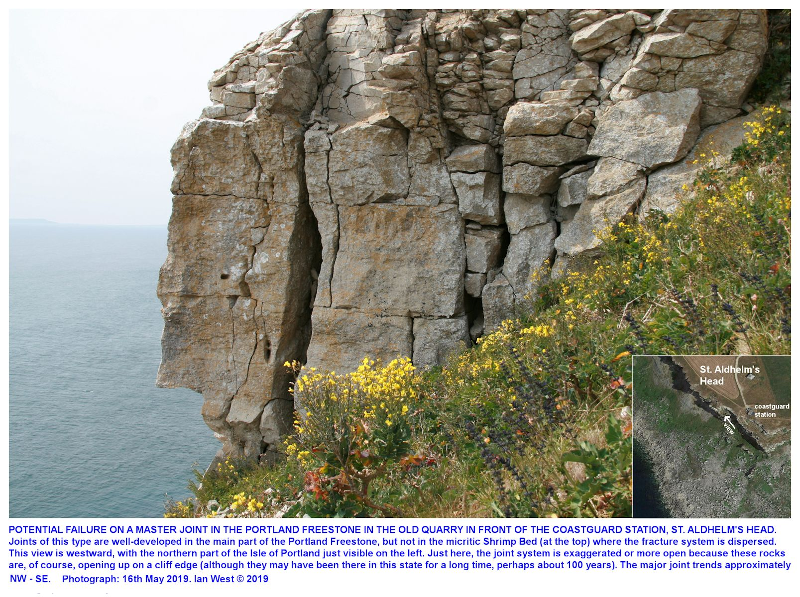 An unstable block of Portland Stone next to a major joint extending SE to NW, the general trend, near the Coastguard Station at the southern end of St. Aldhelm's Head, Dorset, 16th May 2019