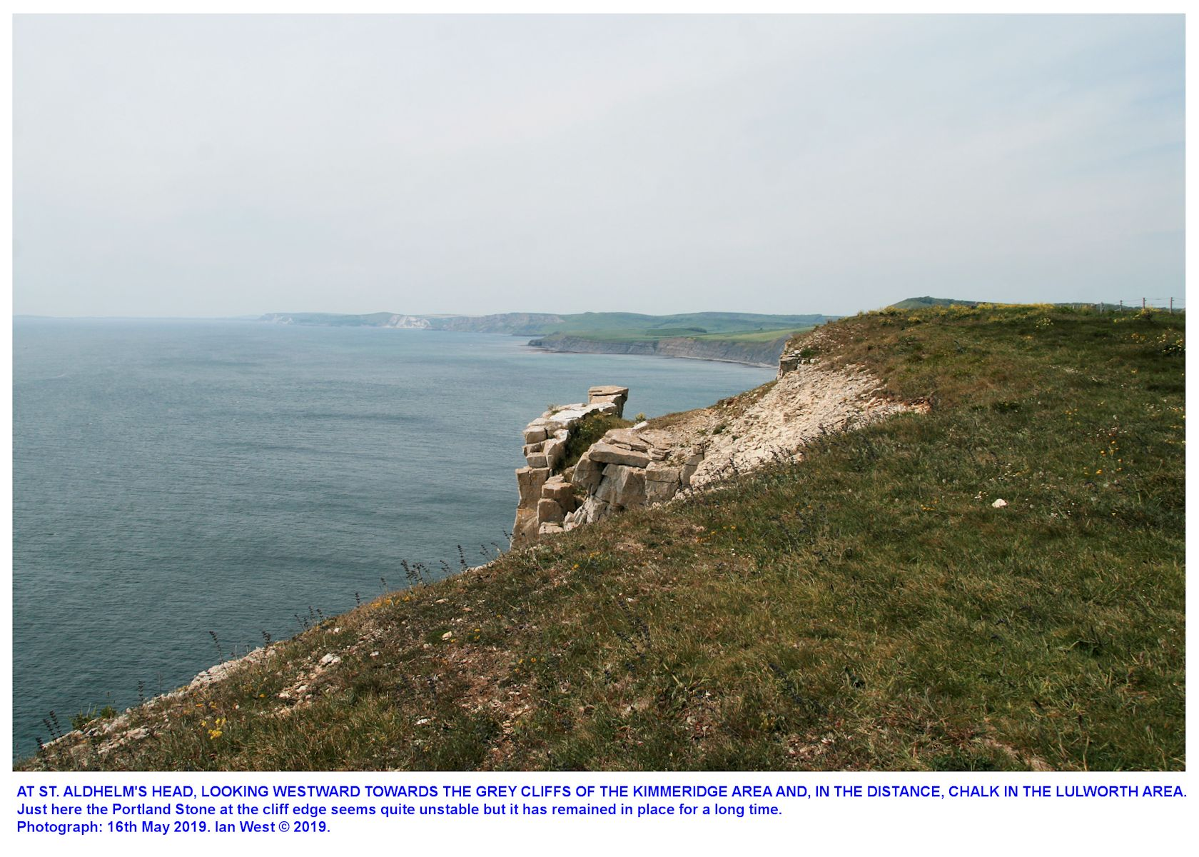 A view westward from St. Aldhelm's Head, Dorset, towards the Kimmeridge cliffs, 16th May 2019