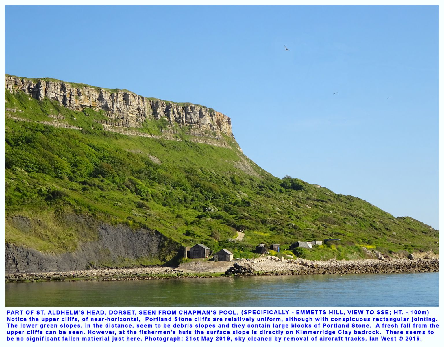 View towards Emmetts Hill, part of the St. Aldhelm's Head promontory, Dorset, Jurassic Coast, seen from Chapman's Pool, 21st May 2019