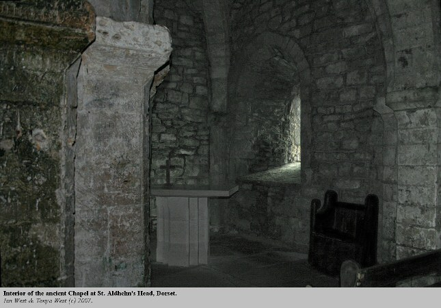 Interior of the the 12th century Chapel at St. Aldhelm's Head, Dorset
