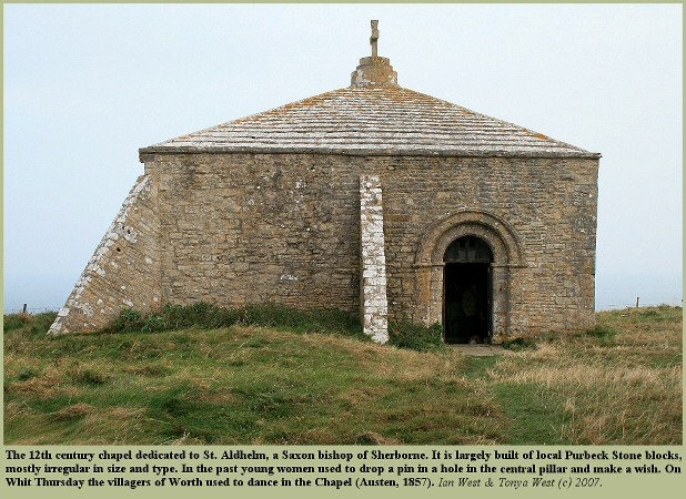 The ancient chapel of Purbeck limestone on the top of St. Aldhelm's Head, Dorset