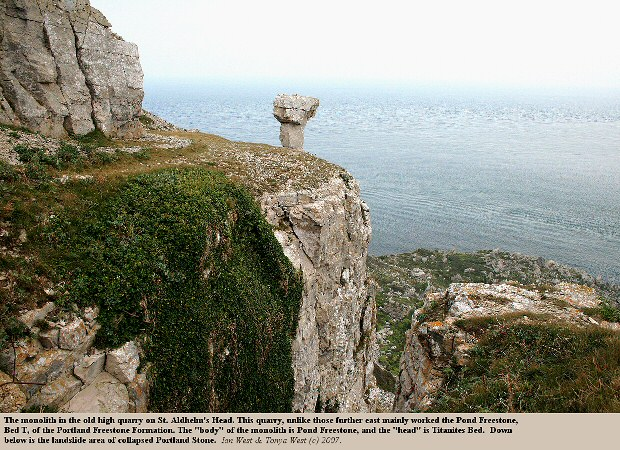 The Portland Freestone at St. Aldhelm's Head, Dorset, with the monolith left by the quarrymen