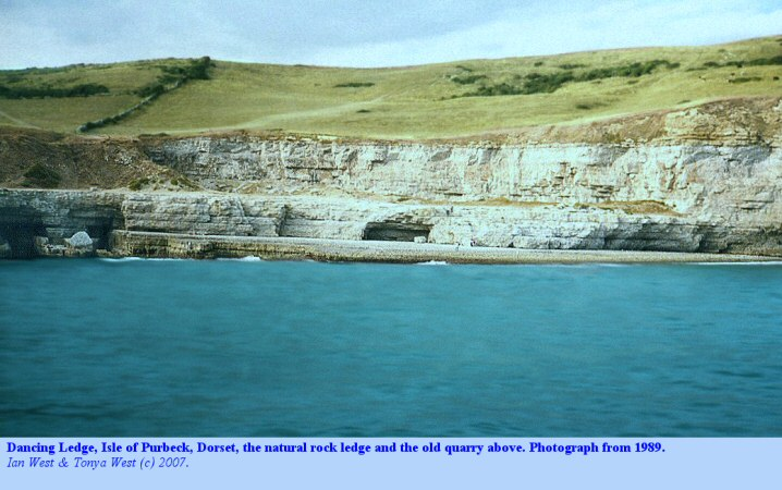 A view from the sea of Dancing Ledge, Isle of Purbeck, Dorset in 1989, photography by Gareth Lloyd