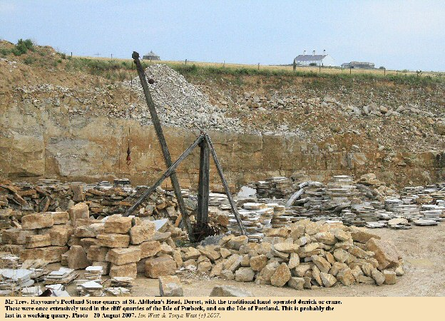 An old type of hand-operated derrick or crane in Mr Trev. Haysom's quarry at St. Aldhelm's Head, Dorset, August 2007