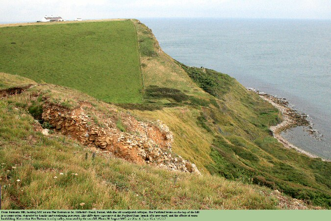 A view from Emmetts Hill across the truncated dry valley of Pier Bottom to St. Aldhelm's Head, Dorset, Jurassic Coast, 2007
