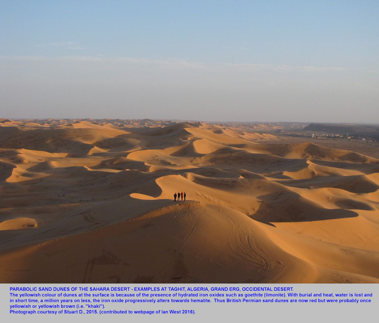 Parabolic sand dunes at Taghit, Algeria, in the Grand Erg of the Oriental Desert, 2015