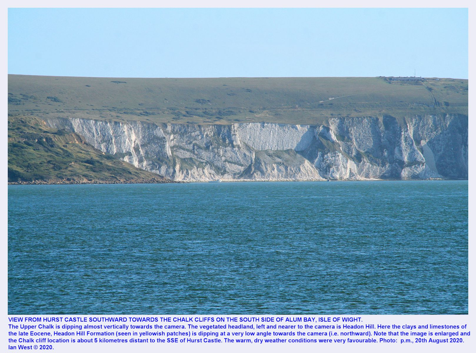 Distant view of the Chalk cliffs at Alum Bay, as seen, enlarged, from the top of Hurst Castle, 20th August 2020