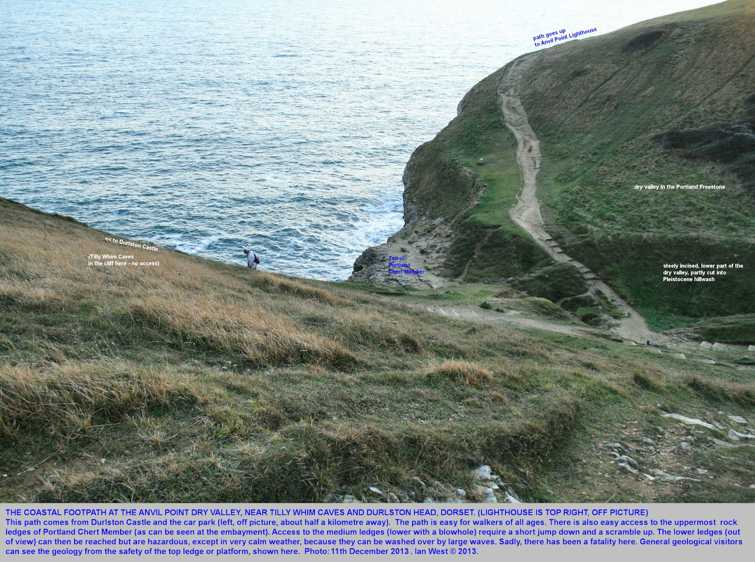 The coastal footpath and slopes at the dry valley, Anvil Point, near Swanage, Dorset, 11th December 2013
