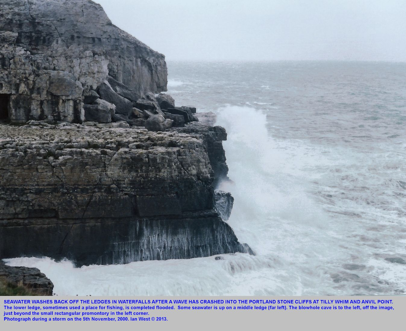 Backwash of seawater from a breaking wave at the lower ledge, Anvil Point, near Swanage, Dorset, 5th November 2000