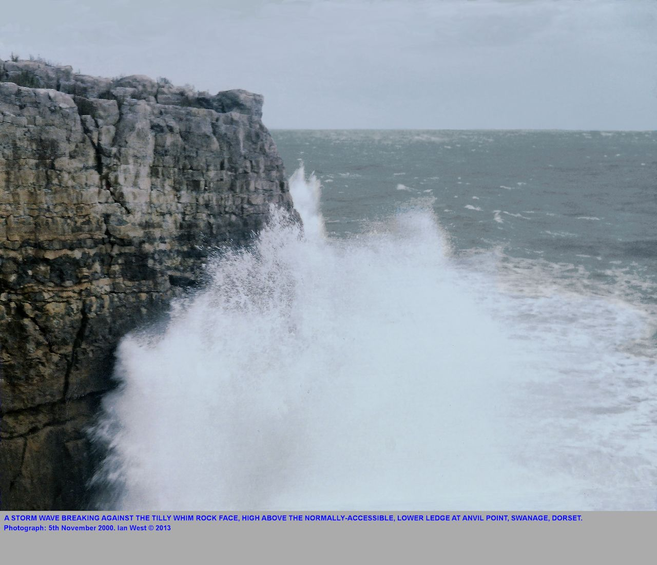 A wave breaking against the wall of Portland Chert Member below the Tilly Whim quarrying ledge, and as seen from the Anvil Point, valley mouth, near Swanage, Dorset, 5th November 2000