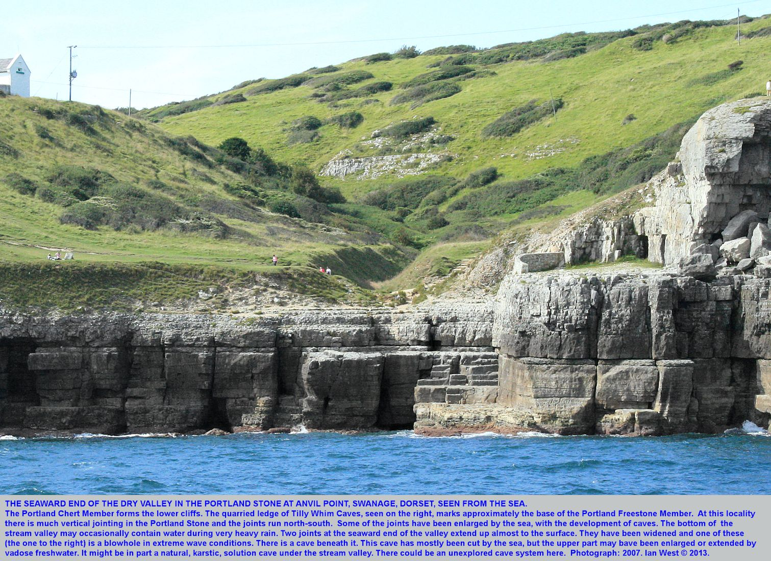Jointing and caves in the Portland Stone at the dry valley, Anvil Point, near Swanage, Dorset, as seen from the sea