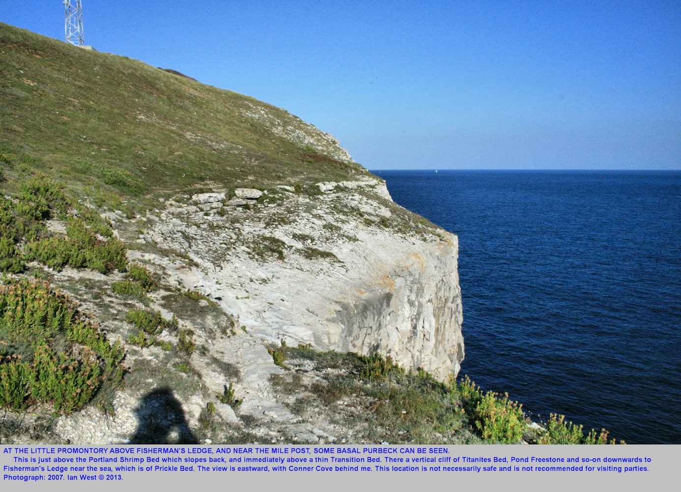 Basal Purbeck limestones, just east of Fisherman's Ledge promontory and near the mile post indicator, west of Anvil Point, near Swanage, Dorset, Jurassic Coast, 2007
