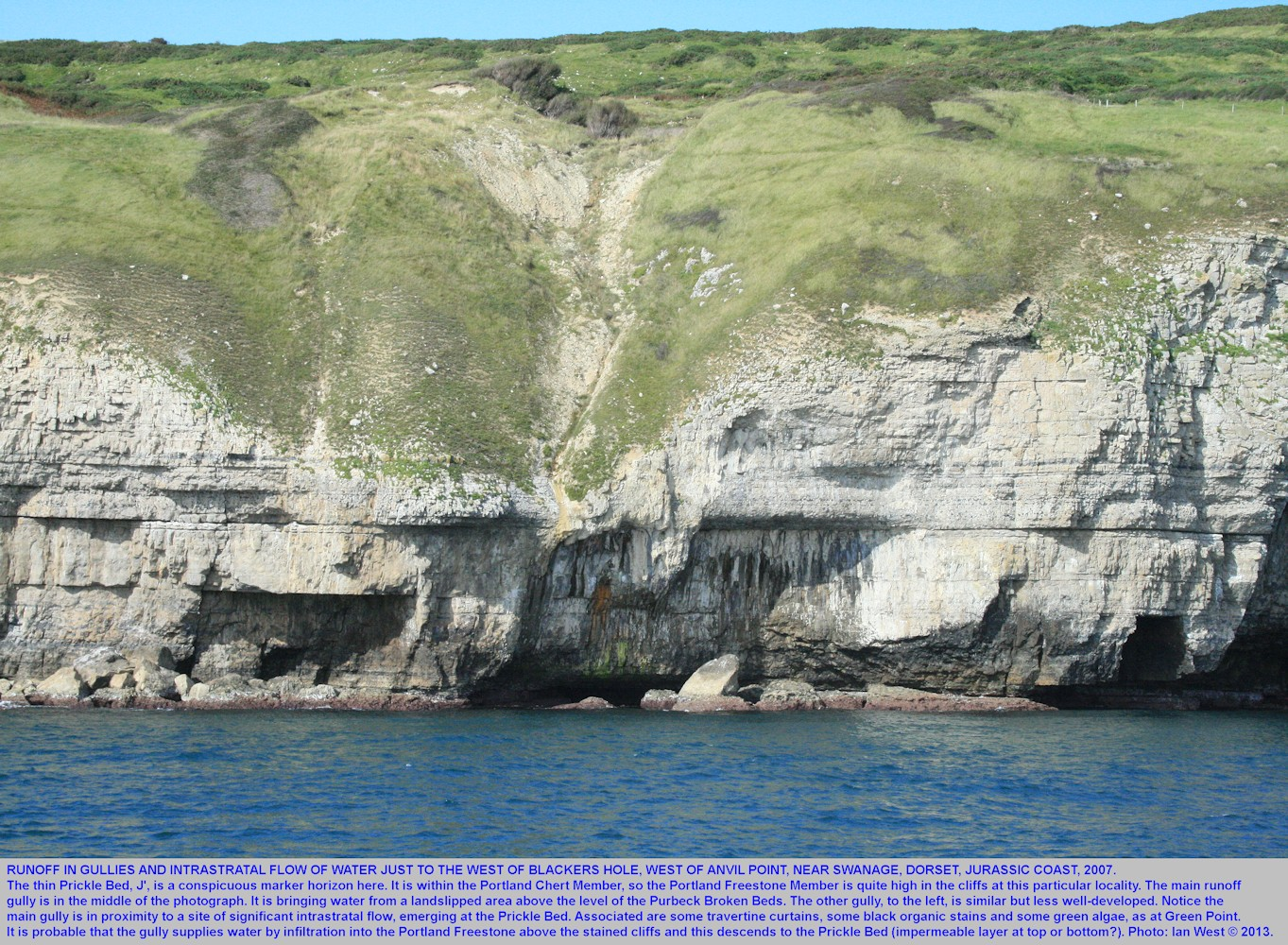A run-off gully with infiltration into the Portland Stone, just west of Blackers Hole, near Swanage, Dorset, Jurassic Coast, 2007