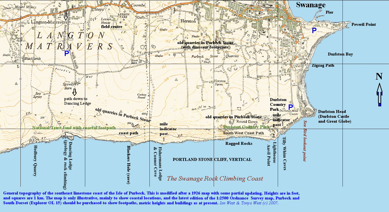 Map Of England Jurassic Coast.Anvil Point To Blackers Hole Dorset Geology By Ian West