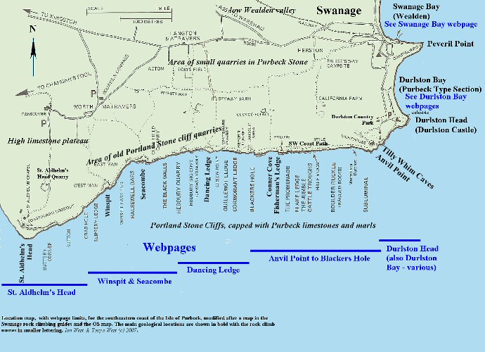Location map and webpage limits for the coast between Durlston Head and St. Aldhelm's Head, near Swanage, Isle of Purbeck, Dorset