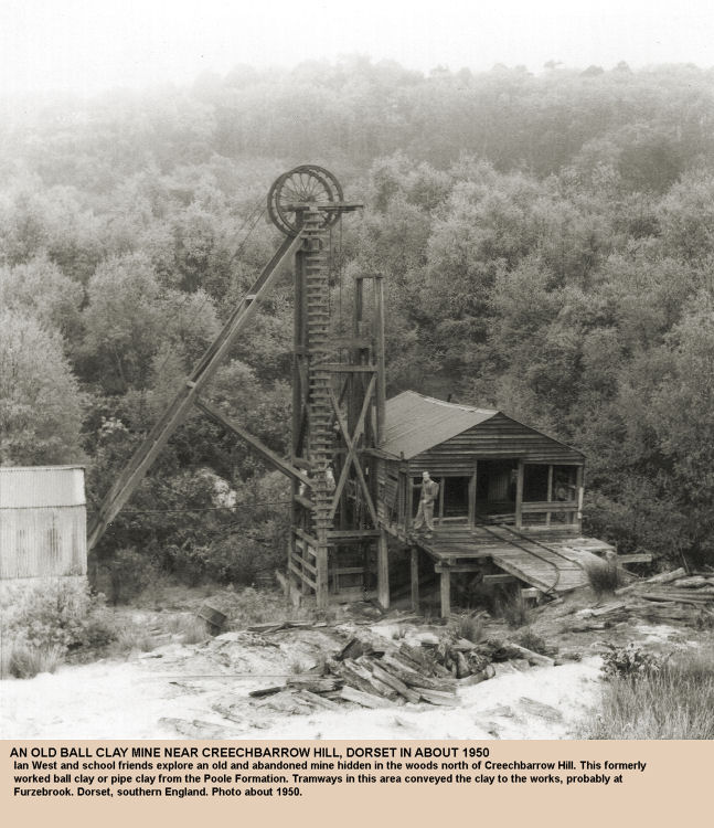 An old, abandoned ball clay or pipe clay mine, hidden in the woods north of Creechbarrow Hill, Dorset, as seen in about 1950