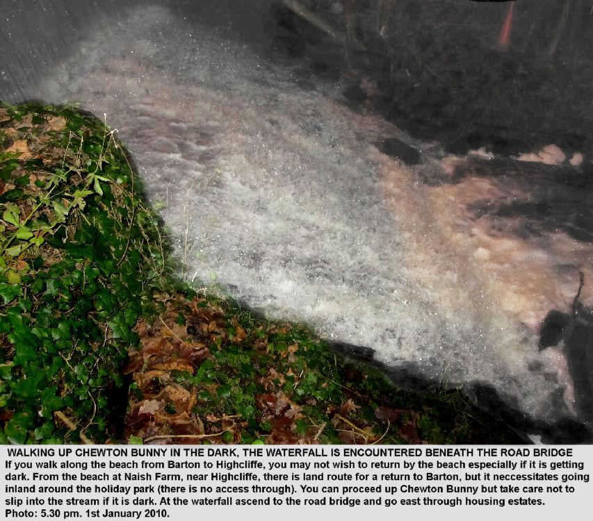 Waterfall beneath the bridge, up Chewton Bunny, Highcliffe, Dorset, after dark, January 2010