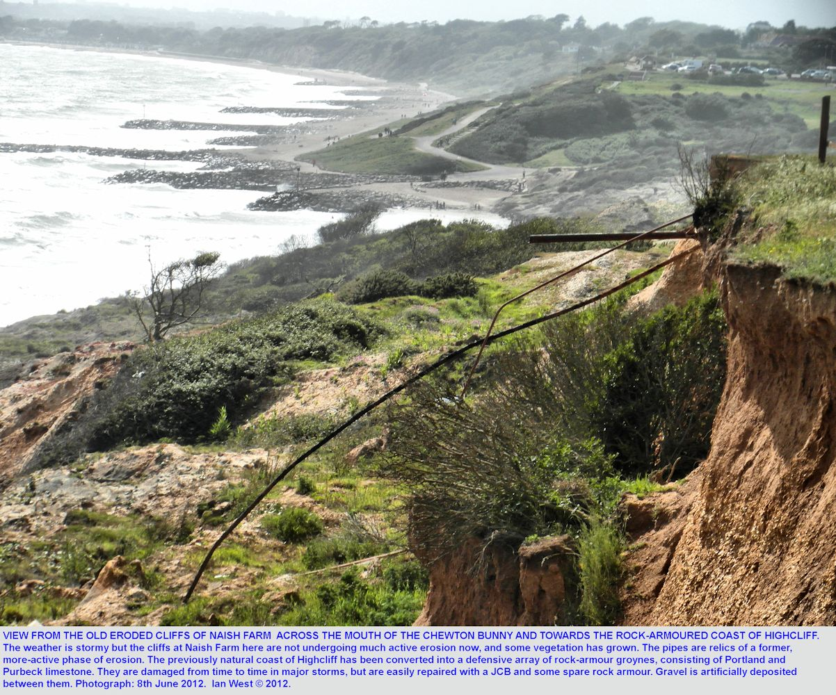 The eroded cliff top at Naish Farm, with a view eastward to Chewton Bunny and Highcliff, with a rock armoured beach