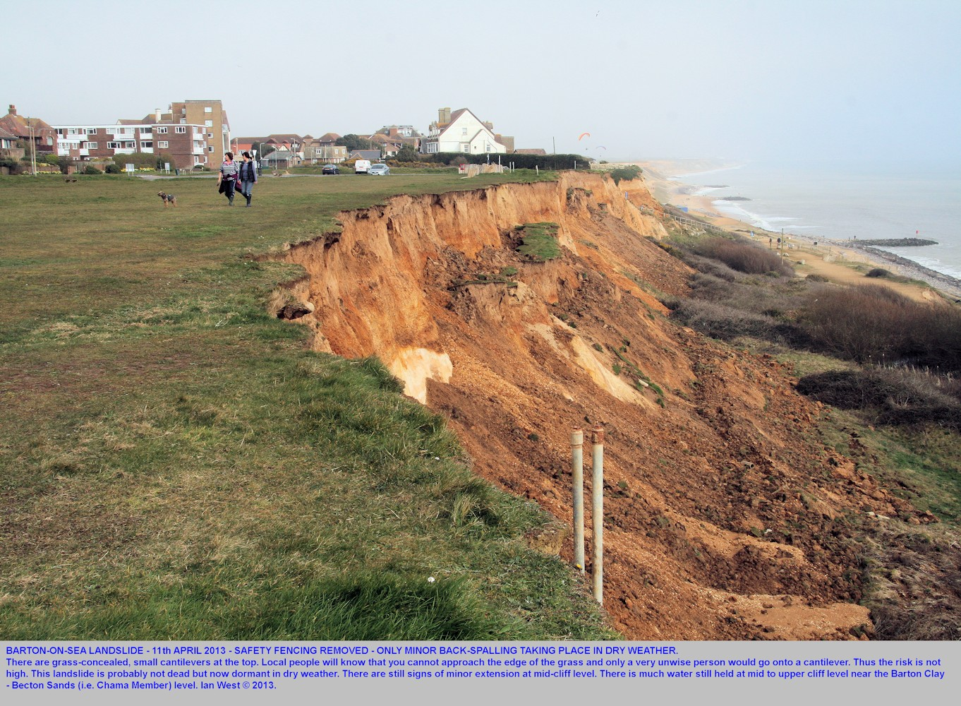 Back-spalling at the landslide near Hoskin's Gap,Barton-on-Sea, Hampshire, on the 11th April 2013