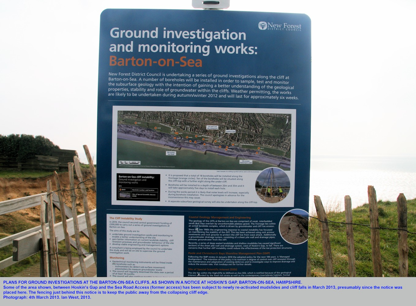 A notice about investigations into instability at Barton-on-Sea, Hampshire, 2013