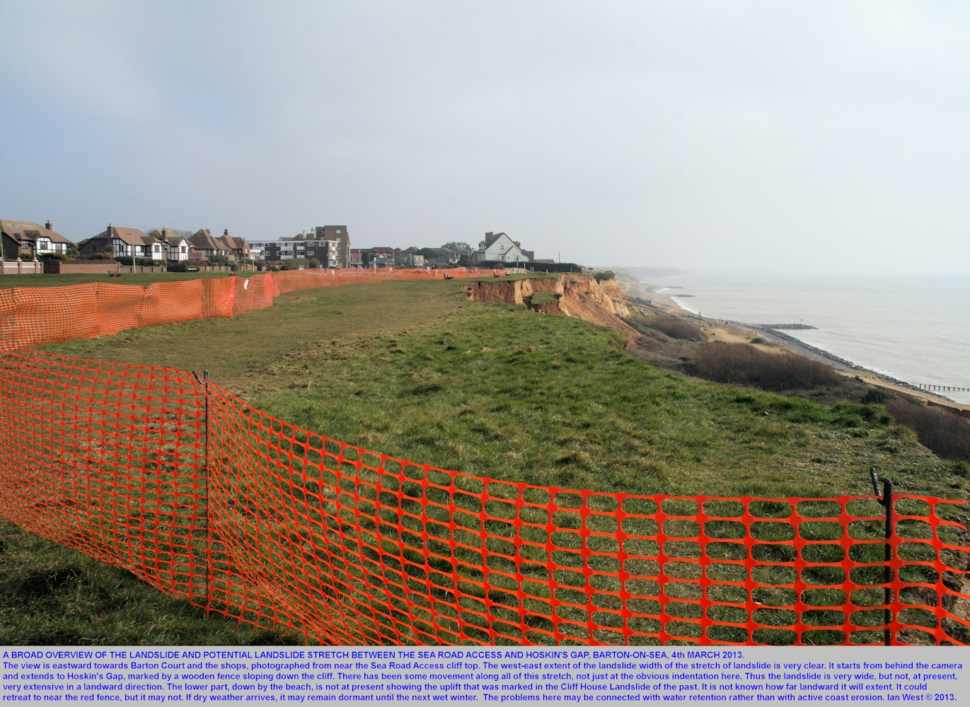 A broad view from the west of increased landslide activity between the old Sea Road Access and Hoskin's Gap, Barton-on-Sea, Hampshire, March 2013