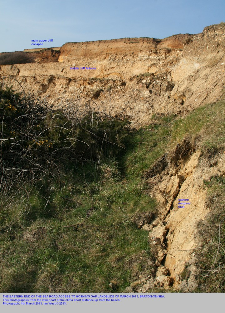 The eastern lateral margin, low in the cliff near Hoskin's Gap, the 2013 Sea Road Access to Hoskin's Gap Landslide, Barton-on-Sea, Hampshire, photographed 4th March 2013