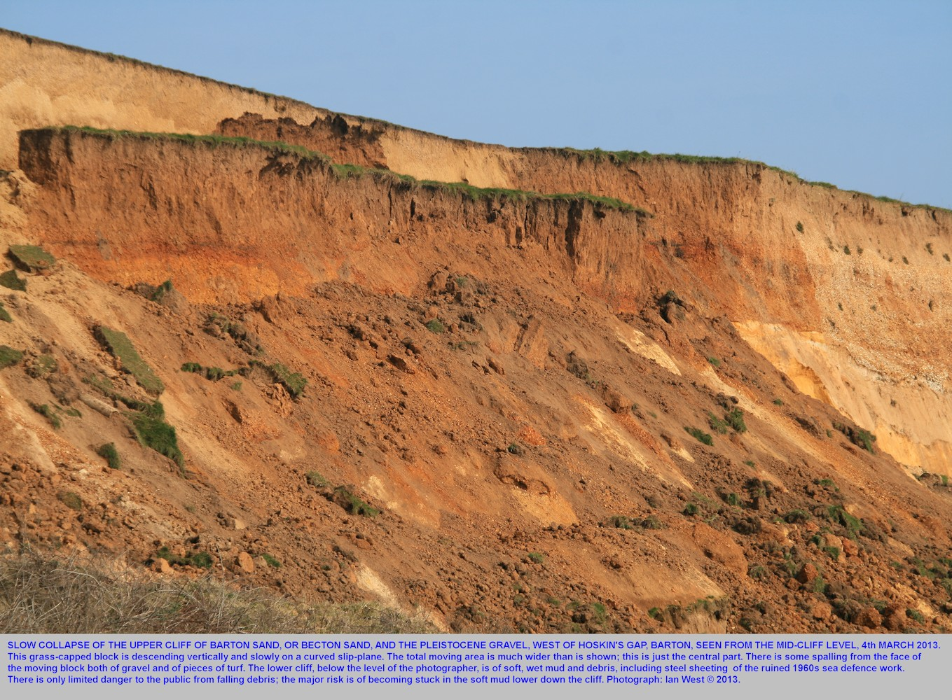 The March 2013 cliff collapse west of Hoskin's Gap, Barton-on-Sea, Hampshire, seen from the mid-cliff level