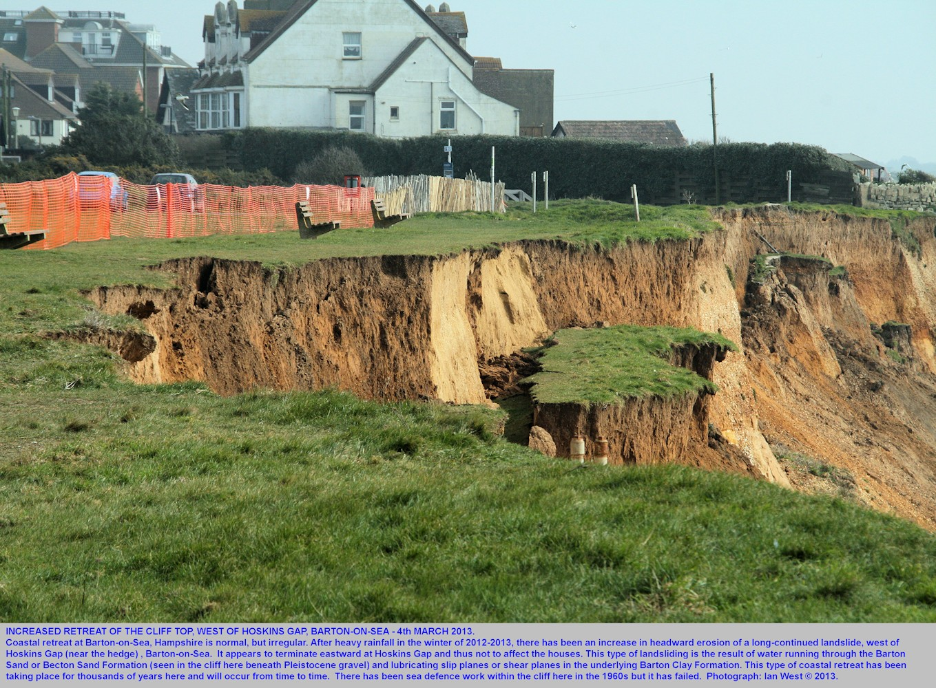 A new phase of retreat of the cliff top at the greensward, west of Hoskins Gap, Barton-on-Sea, Hampshire, 4th March 2013