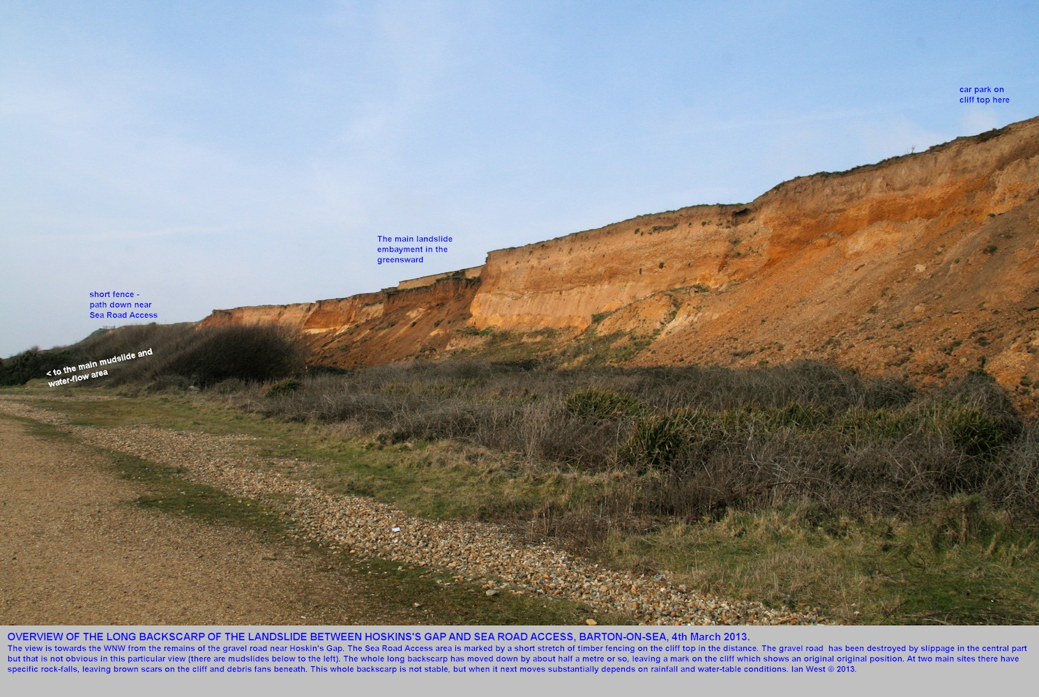 A view from mid-cliff area of the long backscarp of the Sea Road Access to Hoskin's Gap landslide, Barton-on-Sea, Hampshire, 4th October 2013