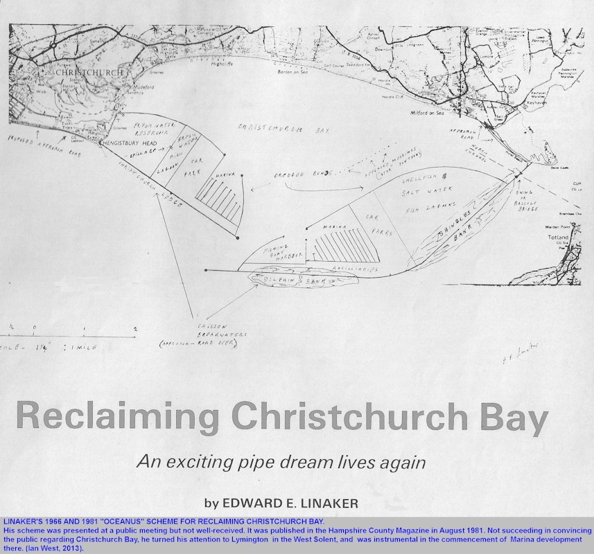 Linaker's scheme for reclaiming Christchurch Bay, Hampshire and Dorset, southern England