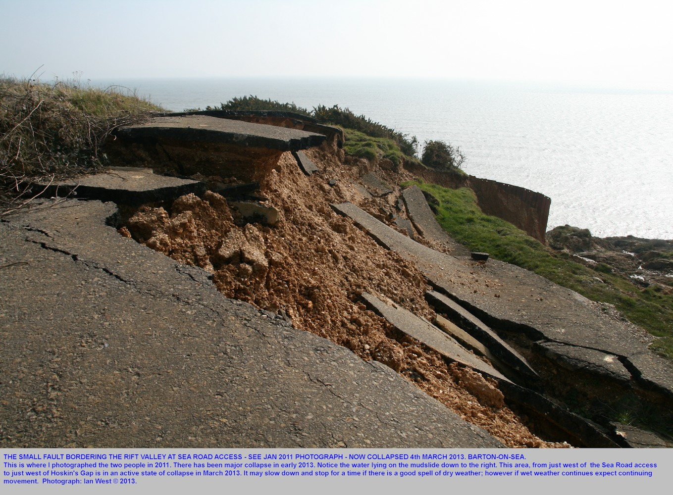 Collapse of the roadway at the small graben at Sea Road Access, Barton-on-Sea, Hampshire, 4th March 2013