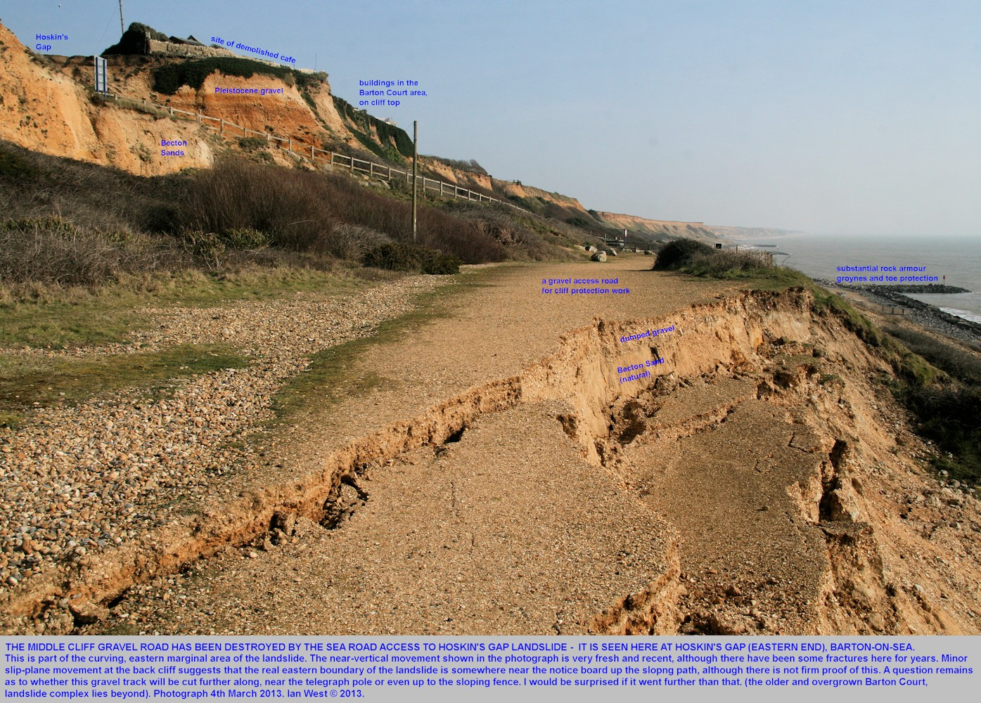 Small-scale downfaulting on fissures in the gravel road, mid-cliff level, near Hoskin's Gap, Barton-on-Sea, Hampshire, 4th March, 2013
