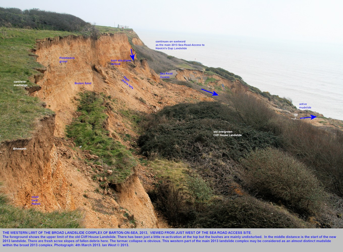 The western limit at the cliff top of the Sea Road Access to Hoskin's Gap, 2013 Landslide, Barton-on-Sea, Hampshire