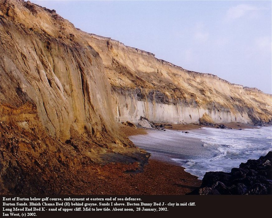 Rapid cliff erosion of the Barton Sand Formation, east of Barton-on-Sea, with the Chama Bed at beach level in 2002