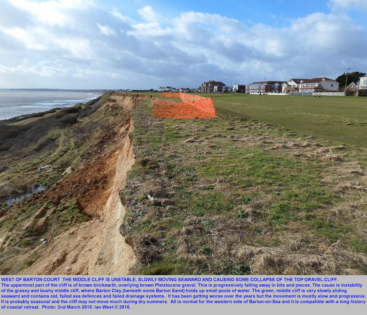 A view looking west of the unstable, but only slowly moving landslide between the old Sea Road Access and Hoskin's Gap, Barton-on-Sea, Hampshire, 21 January 2016