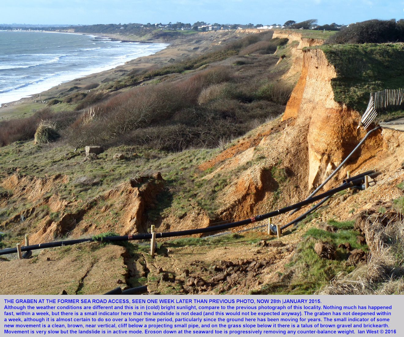 Another view of the new, well-defined mudslide at the Old Sea Road Access, with plastic drainage piping, seen a week later than a previous photograph, note minor cliff fall, Barton-on-Sea, Hampshire, 28th January 2016