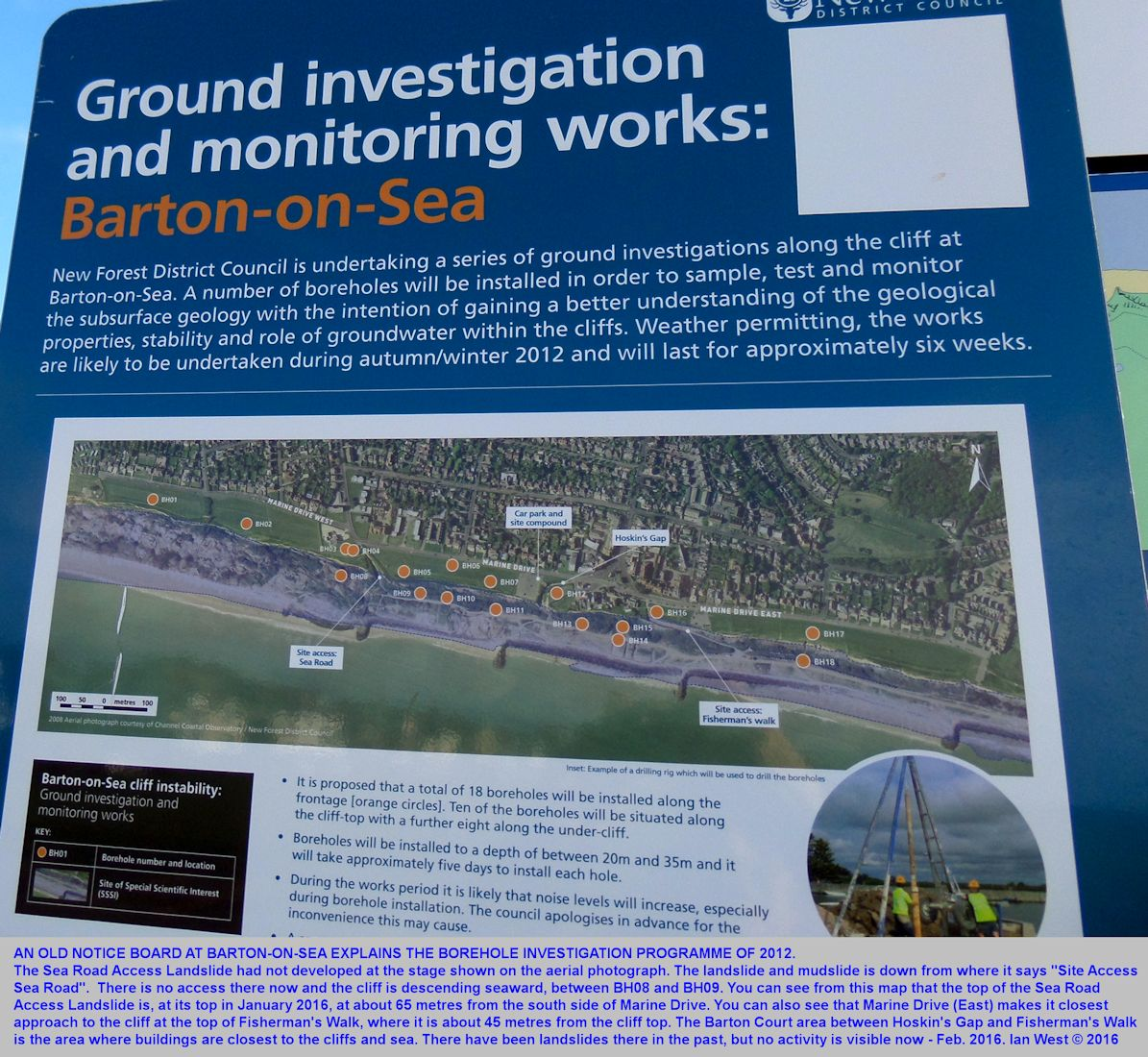 An old notice board at Barton-on-Sea, explaining the borehole investigation programme that was planned for the autumn and winter of 2012, and has now taken place