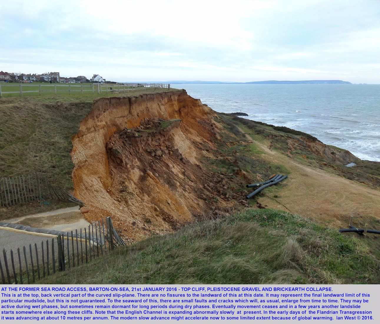 The back Pleistocene Gravel and Brickearth scarp, NE side, at the upper part of the Old Sea Road Access mudslide, Barton-on-Sea, Hampshire, 21st January 2016