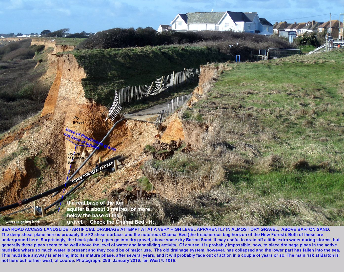 It is surprising that plastic pipes have been inserted into the Pleistocene gravel at a high level and above permeable Barton Sand, not at the level at which water would be expected to  accumulate, location - the Sea Road Access Landslide, Barton-on-Sea, Hampshire, 28th January 2016