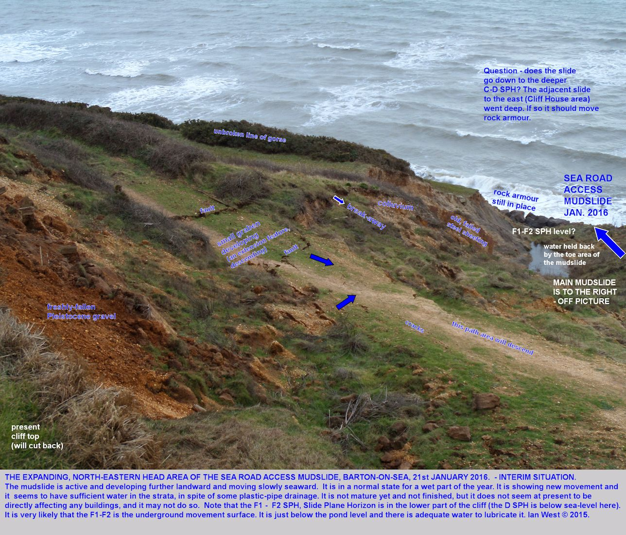 Details of tension cracks and other features of the upper part of the Old Sea Road Access mudslide, Barton-on-Sea, Hampshire, 21st January 2016