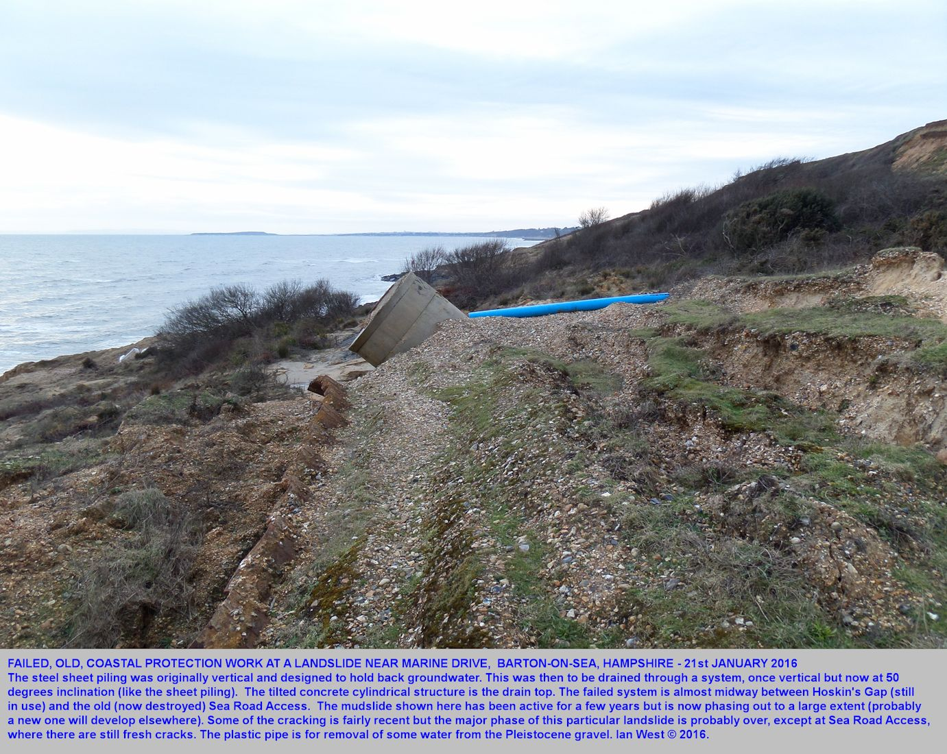 A view from the mid-cliff area showing the relics of major mudslide activity on the cliffs between Sea Road Access and Hoskin's Gap, Barton-on-Sea, as seen on 21st January 2016
