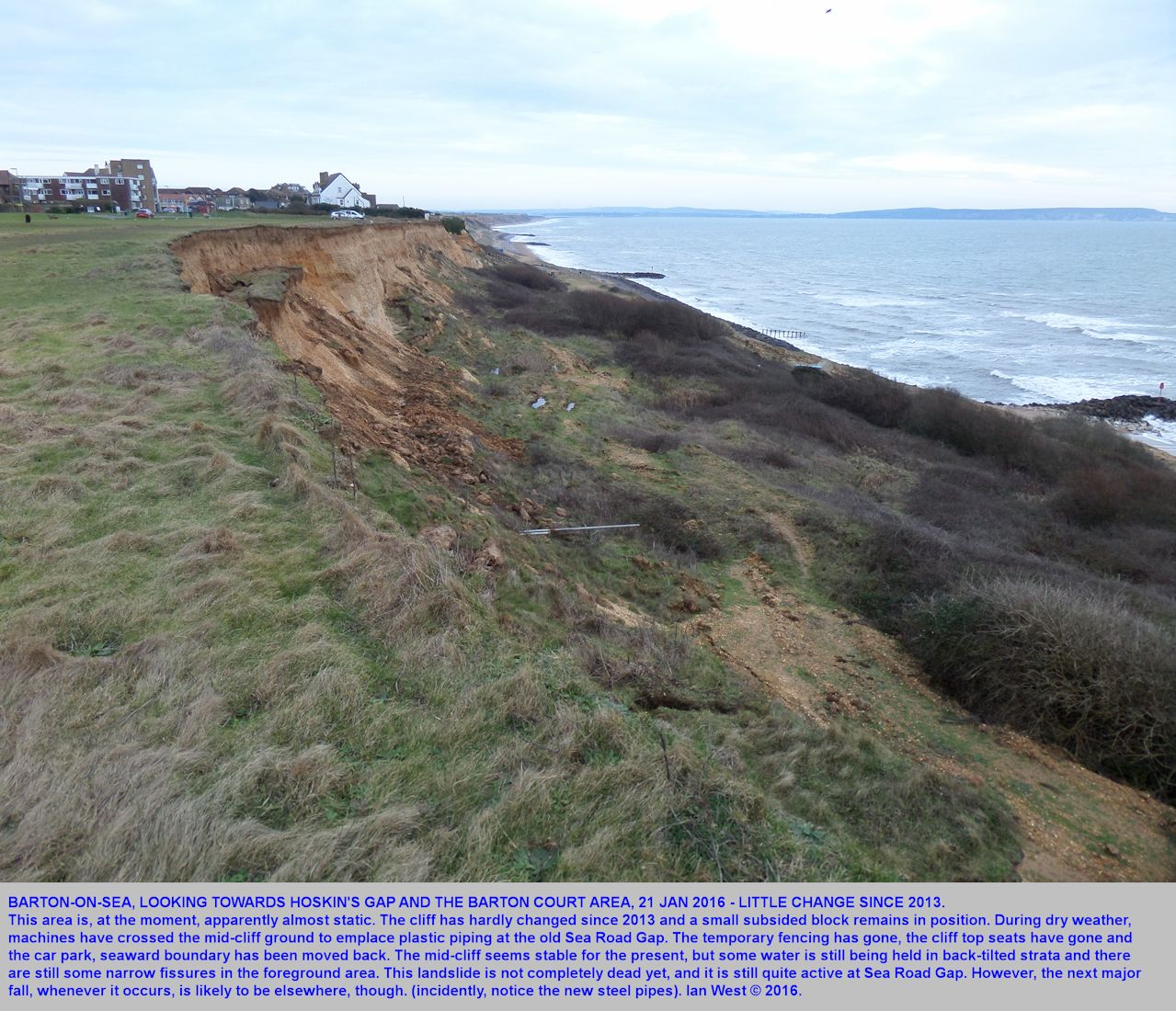 A broad view from the west of the very slow landslide area between the old Sea Road Access and Hoskin's Gap, Barton-on-Sea, Hampshire, 21 January 2016