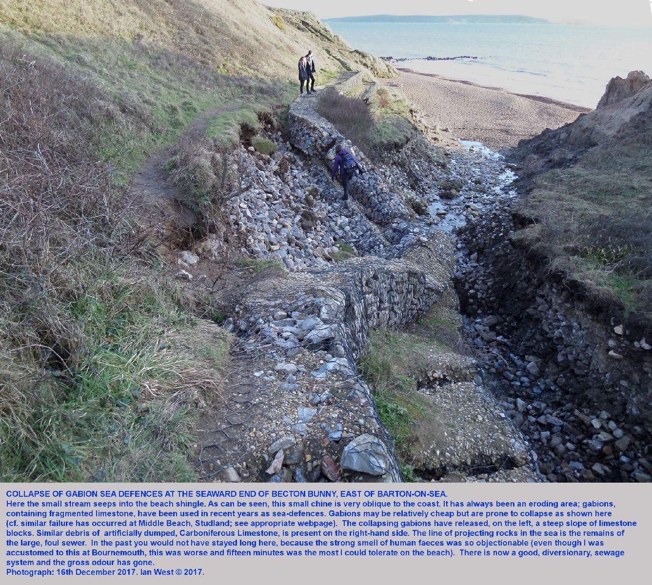 Collapse of gabions at the Becton Bunny chine, east of Barton-on-Sea, Hampshire, the result of coast erosion, as seen on the 16th December 2017, Ian West