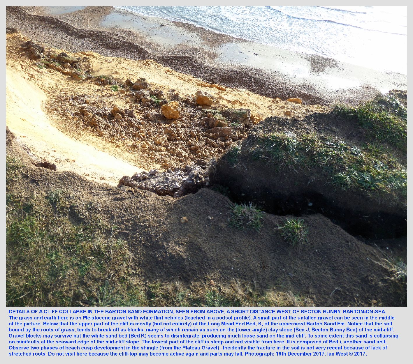 More details, looking down at the eroding cliff edge, near Becton Bunny, at the Terminal Groyne Syndrome area, southeast of Barton-on-Sea, Hampshire, 16th December 2017, Ian West