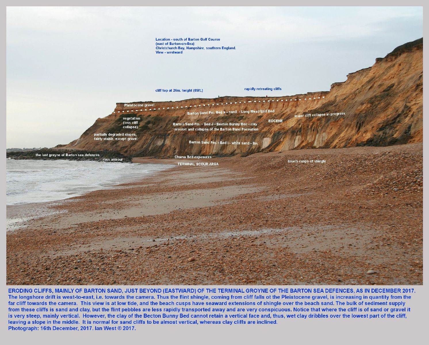 The Chama Bed of the Barton Sand Formation was exposed in December 2017, at the foot of the eroding re-entrant at the eastern end of the sea defences of Barton-on-Sea, Hampshire, a view from the beach