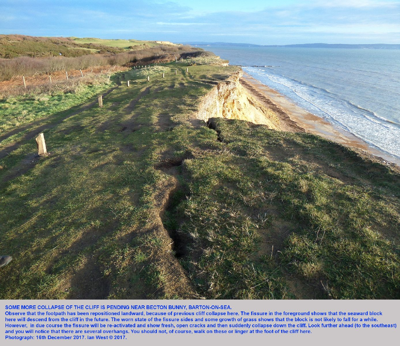 Fissures in the grassy cliff top near Becton Bunny, Barton-on-Sea, Hampshire, as seen on the 16th December 2017